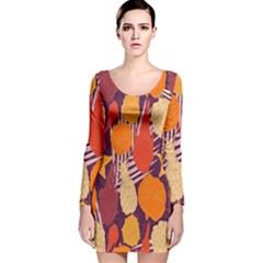 Tropical Mangis Pineapple Fruit Tailings Long Sleeve Velvet Bodycon Dress