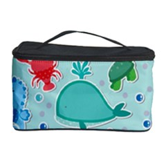 Turtle Crab Dolphin Whale Sea World Whale Water Blue Animals Cosmetic Storage Case