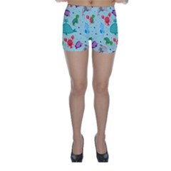 Turtle Crab Dolphin Whale Sea World Whale Water Blue Animals Skinny Shorts