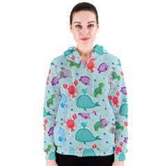 Turtle Crab Dolphin Whale Sea World Whale Water Blue Animals Women s Zipper Hoodie