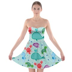 Turtle Crab Dolphin Whale Sea World Whale Water Blue Animals Strapless Bra Top Dress