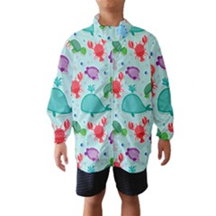 Turtle Crab Dolphin Whale Sea World Whale Water Blue Animals Wind Breaker (Kids)