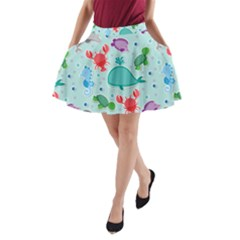 Turtle Crab Dolphin Whale Sea World Whale Water Blue Animals A-Line Pocket Skirt