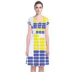 Volumbia Olume Circle Yellow Blue Red Short Sleeve Front Wrap Dress