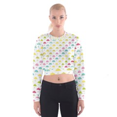 Umbrella Tellow Blue Red Pink Green Color Rain Kid Women s Cropped Sweatshirt