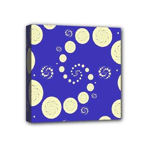 Vortical Universe Fractal Blue Mini Canvas 4  x 4