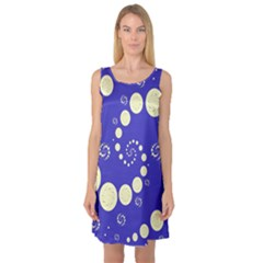 Vortical Universe Fractal Blue Sleeveless Satin Nightdress
