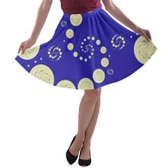 Vortical Universe Fractal Blue A-line Skater Skirt