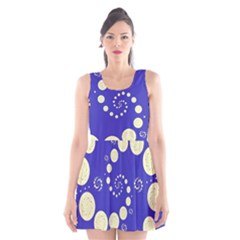 Vortical Universe Fractal Blue Scoop Neck Skater Dress