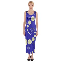 Vortical Universe Fractal Blue Fitted Maxi Dress