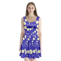 Vortical Universe Fractal Blue Split Back Mini Dress