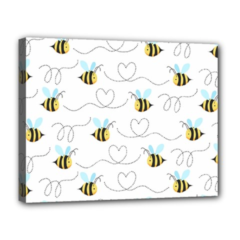 Wasp Bee Fly Yellow Black Blue Hanny Love Canvas 14  x 11