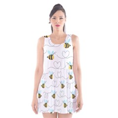 Wasp Bee Fly Yellow Black Blue Hanny Love Scoop Neck Skater Dress
