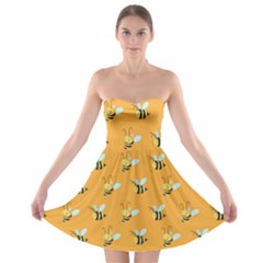 Wasp Bee Hanny Yellow Fly Animals Strapless Bra Top Dress