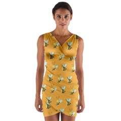 Wasp Bee Hanny Yellow Fly Animals Wrap Front Bodycon Dress