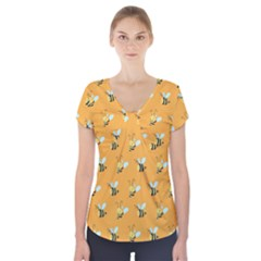 Wasp Bee Hanny Yellow Fly Animals Short Sleeve Front Detail Top