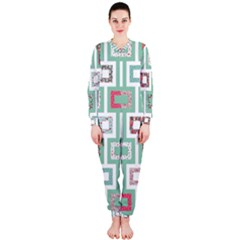 Foto Frame Cats Quilt Pattern View Collection Fish Animals Onepiece Jumpsuit (ladies)