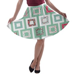 Foto Frame Cats Quilt Pattern View Collection Fish Animals A-line Skater Skirt