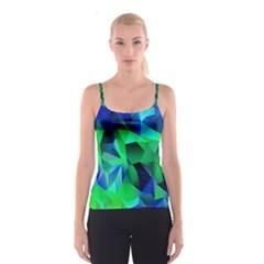 Galaxy Chevron Wave Woven Fabric Color Blu Green Triangle Spaghetti Strap Top