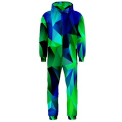 Galaxy Chevron Wave Woven Fabric Color Blu Green Triangle Hooded Jumpsuit (Men)