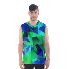 Galaxy Chevron Wave Woven Fabric Color Blu Green Triangle Men s Basketball Tank Top