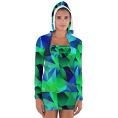 Galaxy Chevron Wave Woven Fabric Color Blu Green Triangle Women s Long Sleeve Hooded T-shirt
