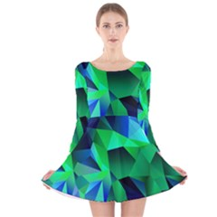 Galaxy Chevron Wave Woven Fabric Color Blu Green Triangle Long Sleeve Velvet Skater Dress