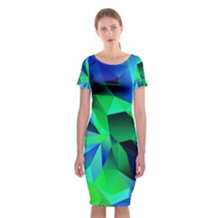 Galaxy Chevron Wave Woven Fabric Color Blu Green Triangle Classic Short Sleeve Midi Dress