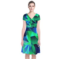 Galaxy Chevron Wave Woven Fabric Color Blu Green Triangle Short Sleeve Front Wrap Dress