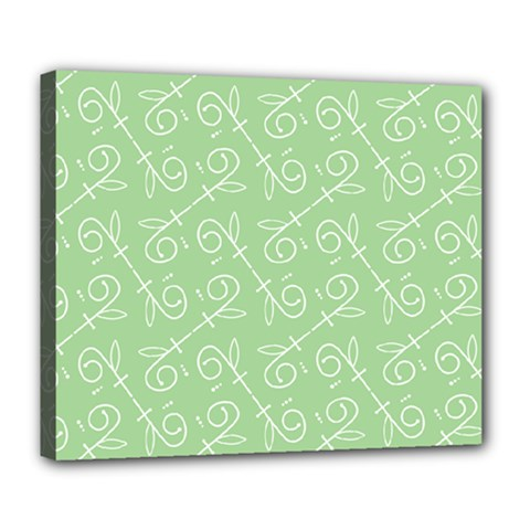 Formula Leaf Floral Green Deluxe Canvas 24  X 20