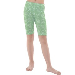Formula Leaf Floral Green Kids  Mid Length Swim Shorts