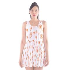 Flower Floral Tulip Orange Scoop Neck Skater Dress