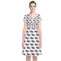 Wasp Bee Eye Fly Line Animals Short Sleeve Front Wrap Dress