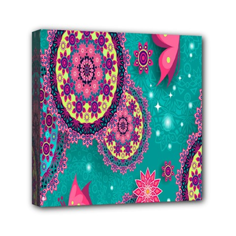 Vintage Butterfly Floral Flower Rose Star Purple Pink Green Yellow Animals Fly Mini Canvas 6  x 6