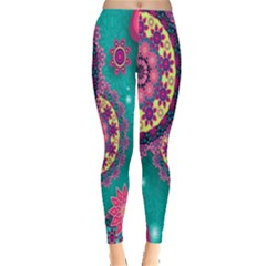 Vintage Butterfly Floral Flower Rose Star Purple Pink Green Yellow Animals Fly Leggings