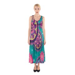 Vintage Butterfly Floral Flower Rose Star Purple Pink Green Yellow Animals Fly Sleeveless Maxi Dress