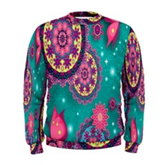 Vintage Butterfly Floral Flower Rose Star Purple Pink Green Yellow Animals Fly Men s Sweatshirt