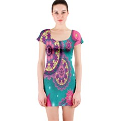 Vintage Butterfly Floral Flower Rose Star Purple Pink Green Yellow Animals Fly Short Sleeve Bodycon Dress