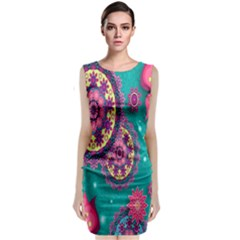 Vintage Butterfly Floral Flower Rose Star Purple Pink Green Yellow Animals Fly Classic Sleeveless Midi Dress