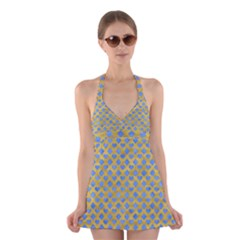 Diamond Heart Card Valentine Love Blue Yellow Gold Halter Swimsuit Dress