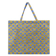 Diamond Heart Card Valentine Love Blue Yellow Gold Zipper Large Tote Bag