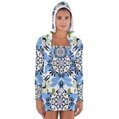 Flower Floral Jpeg Women s Long Sleeve Hooded T-shirt