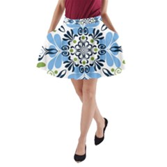 Flower Floral Jpeg A-Line Pocket Skirt