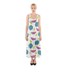 Summer Fruit Watermelon Water Guava Onions Sleeveless Maxi Dress