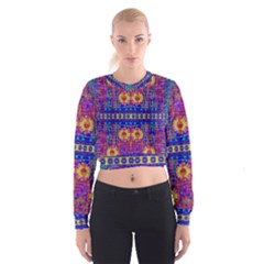 Festive Decorative Moonshine Women s Cropped Sweatshirt