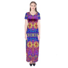 Festive Decorative Moonshine Short Sleeve Maxi Dress