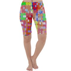 Abstract Polka Dot Pattern Cropped Leggings