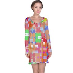Abstract Polka Dot Pattern Long Sleeve Nightdress