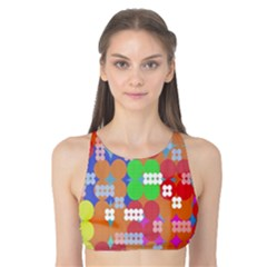Abstract Polka Dot Pattern Tank Bikini Top