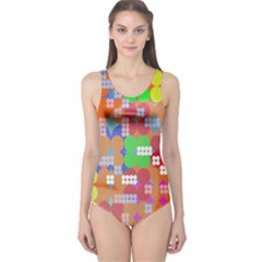 Abstract Polka Dot Pattern One Piece Swimsuit